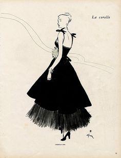 hollyhocksandtulips: Christian Dior fashion illustration by Rene Gruau, 1947 Dior Vintage, Moda Vintage, Vintage Mode, Vintage Fashion, Vintage Clothing, Dior Fashion, Moda Fashion, Fashion Art, Fashion Models