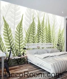 Beautiful Dream Fresh Green Ferns Transparent Leaf Wall Art Wall Decor  Mural Wallpaper Wall IDCWP