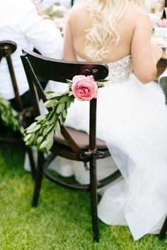 Simple bay leaf chair swag, accented with a pop of coral Garden Rose. By Gavita Flora. Nestldown Wedding, Coral Garden, Wedding Blog, Wedding Ideas, Garden Wedding, Bride Groom, Pink Flowers, Wedding Dresses, Wedding Flowers
