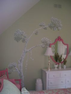 Even though Spring is almost here..Decorating girl's rooms with garden murals….