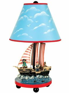 Guidecraft Pirate Table Lamp by Guidecraft. $40.00. Childrens Table Lamp. Hand-Painted and Hand-Carved. Requires 40 Watt Bulb- NOT INCLUDED. Pirates, Sharks, Ships and More!. Dimensions: 16in H x 9in W x 9in L / Weight: 4 lbs.. Hoist the anchor and unfurl the Jolly Roger! The Pirate Table Lamp from Guidecraft sets the theme for an adventure on the high seas! Pirates look to the horizon as sharks circle the ship for a fun and realistic twist on childrens furnitur...