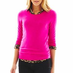 "LOVE this bright pink or as they call it ""extreme pink"" cashmere sweater without the leopard print thing under it! lol"