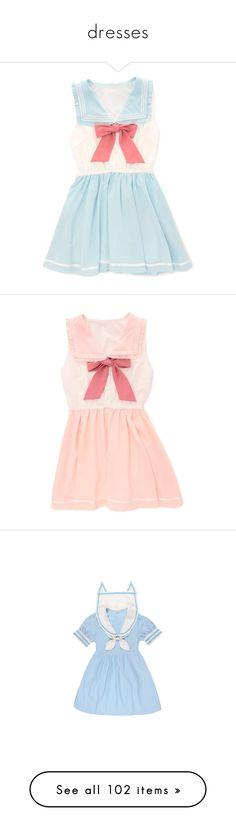 """dresses"" by kawaii-items ❤ liked on Polyvore featuring dresses, lolita, blue dress, sailor dress, pink dress, sailor collar dress, collar dress, pink collar dress, pattern dress and button up dress"