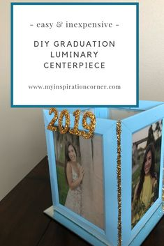 This picture frame luminary makes a great graduation party idea - I'm using it as a graduation party centerpiece for the senior graduation table. Graduation Table Decorations, Diy Party Decorations, Graduation Party Decor, Graduation Ideas, Baby Shower Gifts To Make, Thing 1, Colorful Party, Diy Centerpieces, Picture Frame