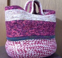 XL Coiled Rope Wrapped Clothesline Fabric Bag, Basket, Tote Red/Beige by quiltingpenn on Etsy https://www.etsy.com/listing/222382063/xl-coiled-rope-wrapped-clothesline