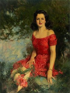 4b0960ac83 View Beautiful seated woman in red dress by Howard Chandler Christy on  artnet. Browse upcoming and past auction lots by Howard Chandler Christy.