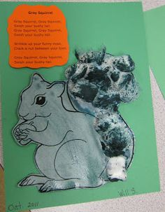 """Gray Squirrel"" Poem & Craft (from Mrs. Karen's Preschool Ideas)"