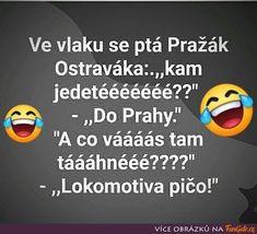 Ve vlaku se ptá Pražák Ostraváka: Pta, Jokes, Funny, Sarcasm, Husky Jokes, Memes, Funny Parenting, Funny Pranks, Hilarious