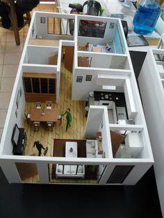CR/ Estudio de Arquitectura.: Maqueta de Departamentos 3d House Plans, 2 Bedroom House Plans, Model House Plan, Small House Plans, Maquette Architecture, Architecture Model Making, Architecture Design, Sims 4 House Design, Small House Design