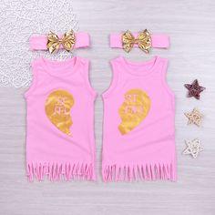 667de7cdee26 Mikrdoo 2017 Fashion Mini BFF Letters Vestido Children Summer Girls Tassel  Cotton Dresses Baby Girl Sleeveless Fringe Kids Princess Sundress