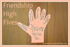 "Friendship High Fives - Kindness for Kids Now that school is out and my 4 year old doesn't see his friends 3 days a week, we wanted to let his friends know he's thinking about them. Little kids love getting mail, so we created paper ""High Fives"" to send Preschool Friendship, Friendship Crafts, Friendship Lessons, Friendship For Kids, Friendship Group, Kindness Activities, Preschool Activities, Free Preschool, Preschool Curriculum"