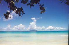 View of Silhouette from Beau Vallon beach, Seychelles