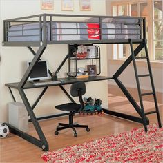 This Coaster Furniture Bunks Collection Workstation Full Loft Bed - Matte Black is perfect for a teen's bedroom or a college student. This loft.
