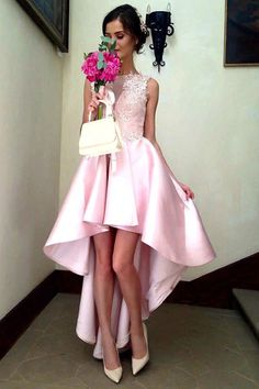 Cute pink lace satin high low prom dress, homecoming dress