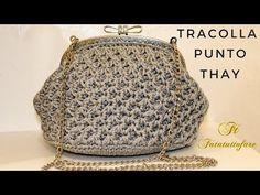 """""""MELLINA"""" - UNCINETTO crochet BORSA IN LUREX clic clac PUNTO VENTAGLIO - YouTube"""