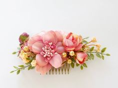 Items similar to Blush peach flower comb, bridal hair comb, hair comb for wedding, faux flowers for hair on Etsy Peach Flowers, Faux Flowers, Diy Flowers, Bridal Hair Flowers, Flower Headpiece, Flower Hair Clips, Flower Crown, Bridesmade Hair, Wedding Hair Clips