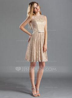 Vestidos princesa/ Formato A Decote redondo Coquetel Renda Vestido de madrinha com Curvado (007019660) - JJsHouse