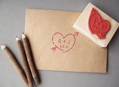 Heart with Initials Stamp- Save the Date, Weddings, Anniversary, Woodland Wedding. $14.95, via Etsy.