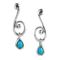 A soft swirling design and vibrant-blue pop of color give these dangle earrings exquisite style that you can take from day to night. The elongated design flatters the face while pear-shaped Sleeping Beauty cabochon set dangles add movement.