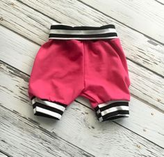 Shorts  Fuchsia with B/W Stripe   Baby Shorties  Toddler