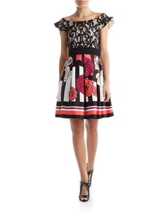 Sheath dress personalised by mix of prints and fabrics with suede, lace and mesh inserts interspersed by contrasting print panels. Single colour scuba rear.