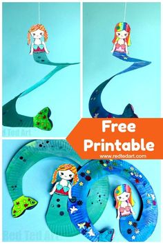 Paper Plater Mermaid Twirler. We lover making Paper Plate Whirligigs for all the different seasons. These mermaid twirlers come with a free Mermaid Printable. Make these Paper Plater Mermaid Whirligigs today #paperplates #mermaids #twirlers #whirligigs #printables