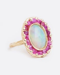 Looking Glass Ring with Opal and Pink Sapphires