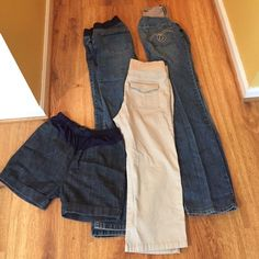 Maternity pants bundle Maternity pants bundle. All of them size small. Two pairs of pants, one pair of khaki capris, and one pair of shorts. Priced all together Maternity Pants Boot Cut & Flare