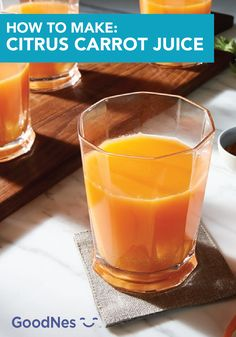 Cool off by the pool from the summer heat while enjoying a glass of Citrus Carrot Drink. Made in a blender, you'll love this recipe's unique and flavorful taste. Click here to learn more! Summer Drink Recipes, Refreshing Summer Drinks, Summer Heat, Carrots, Beverages, Fruit, Unique, Glass, Desserts