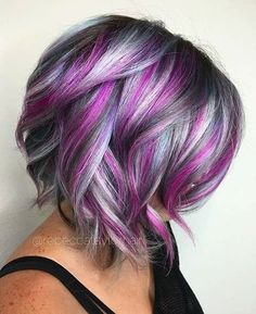 Try easy Colorful Hair Ideas 209021 75 Crazy Pastel Hair Color Ideas for Unique Hairstyles using step-by-step hair tutorials. Check out our Colorful Hair Ideas 209021 75 Crazy Pastel Hair Color Ideas for Unique Hairstyles tips, tricks, and ideas. Unicorn Hair Color, Hair Color Purple, Hair Color And Cut, Cool Hair Color, Purple Gray, Short Purple Hair, Magenta Hair, Purple Streaks, Short Hair Colors