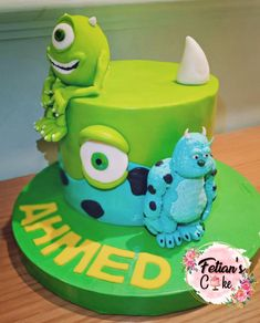 Monster Party, Monster Inc Cakes, Monster University, Monsters Inc, Cake Decorating Tips, Fondant Cakes, How To Make Cake, Minions, First Birthdays