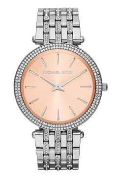 MICHAEL Michael Kors Michael Kors 'Darci' Crystal Bezel Bracelet Watch, 39mm available at #Nordstrom