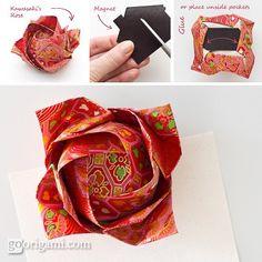 Kawasaki Rose as an Origami Magnet    http://goorigami.com/single-sheet-origami/kawasaki-rose-as-an-origami-magnet