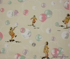 1930's Vintage Wallpaper mint green and candy pink bubbles