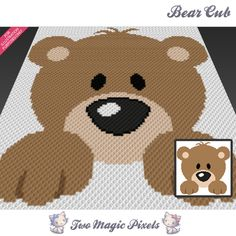 Bear Cub crochet blanket pattern; knitting, cross stitch graph; pdf download; no written counts or row-by-row instructions by TwoMagicPixels, $1.89 USD
