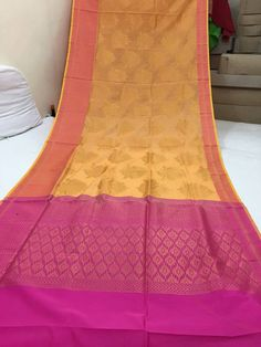 Yellow and pink pure chanderi silk saree
