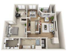 Plan great gma cottage, even has nook for scrapbooking/computer! 2 Bedroom Floor Plans, Apartment Floor Plans, Sims 4 House Plans, House Floor Plans, Apartment Layout, Apartment Design, Sims House Design, Floor Layout, House Blueprints