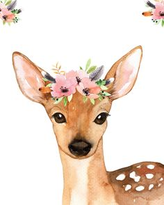 Deer Flower Wreath Woodland Animals with Flower Crowns Nursery Signs Woodland Nursery Fawn Nurser