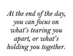 I'm holding me together.