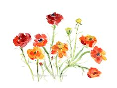 Buttercup watercolor painting Floral watercolor by TheJoyofColor