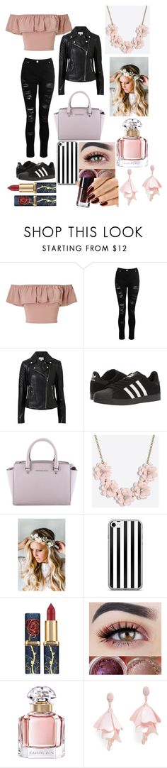"""Untitled #15"" by femke1425 ❤ liked on Polyvore featuring Miss Selfridge, Witchery, adidas, MICHAEL Michael Kors, J.Crew, Emily Rose Flower Crowns, Guerlain and Oscar de la Renta Pink Label"