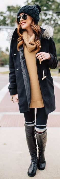 Camel Oversize Cowl Neck Sweater by Sequins & Things. Perfect for Fall and Winter in NYC. ;)