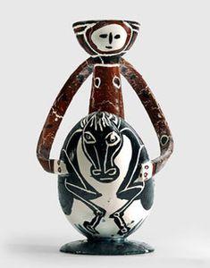 Pablo Picasso, Le Cavalier, 1950, Pichet à vin en terre cuite blanche tournée. Collection particulière