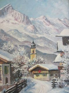 """Okreno, a German artist, believed to be from 1940's the town of Garmisch in Southern Germany. winter scene oil on board has artist's signature on lower left. The imagination of Swiss alps , a city view, with white mountains, incredible colors, highlights of brush strokes, snow and trees, cottages, and the snow view . medium: oil on board dimension: art is 9.5"""" x 11.75"""" in 13"""" x 15.25"""" original wood frame, with touch of tan, blue accents."""