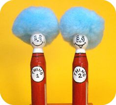 Thing 1 and Thing 2 Clothespin Craft Super cute; possibly incorporate into favor