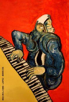 No es tan difícil tocar el piano, de Maximiliano Lopez Barrios #painting #music #piano #lopezbarrios #maximilianolopezbarrios #art