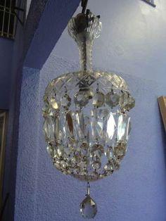 Torra Torra ! Belissimo Lustre Em Cristal Antigo Alt 50 Cm - R$ 548,00 no MercadoLivre