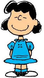 Lucy Van Pelt: first appearance March 3, 1952. Known around the neighborhood (and by her little brother, Linus) for being crabby and bossy, Lucy can often be found dispensing advice from her 5-cent psychiatrist's booth, yanking away Linus' security blanket, or humiliating Charlie Brown. Lucy's only weakness? Her unrequited love for the piano-playing Schroeder.