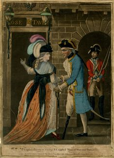 """A Lugsail Privateer towing a Crippled Man of War into Port"". Satire; s plump prostitute with a feathered hat, enticing an old sailor with a wooden leg into the 'Rose Tavern' on the left; with a soldier standing in a niche next door on the right. 1783 hand-coloured mezzotint with some etching."