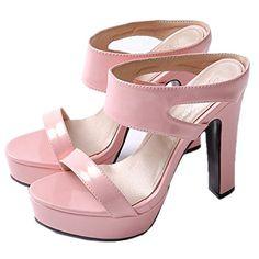 c6f16895cc3369 TAOFFEN Women Sexy High Heel Platform Slides Sandals Slip on Slides Shoes 4  BM US Pink · Sandals PlatformWomen s ...
